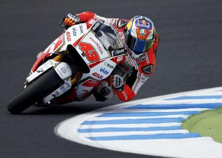 Honda MotoGP rider Jack Miller of Australia rides during a free practice session at the Twin Ring Motegi circuit ahead of Sunday's Japanese Grand Prix in Motegi, Japan