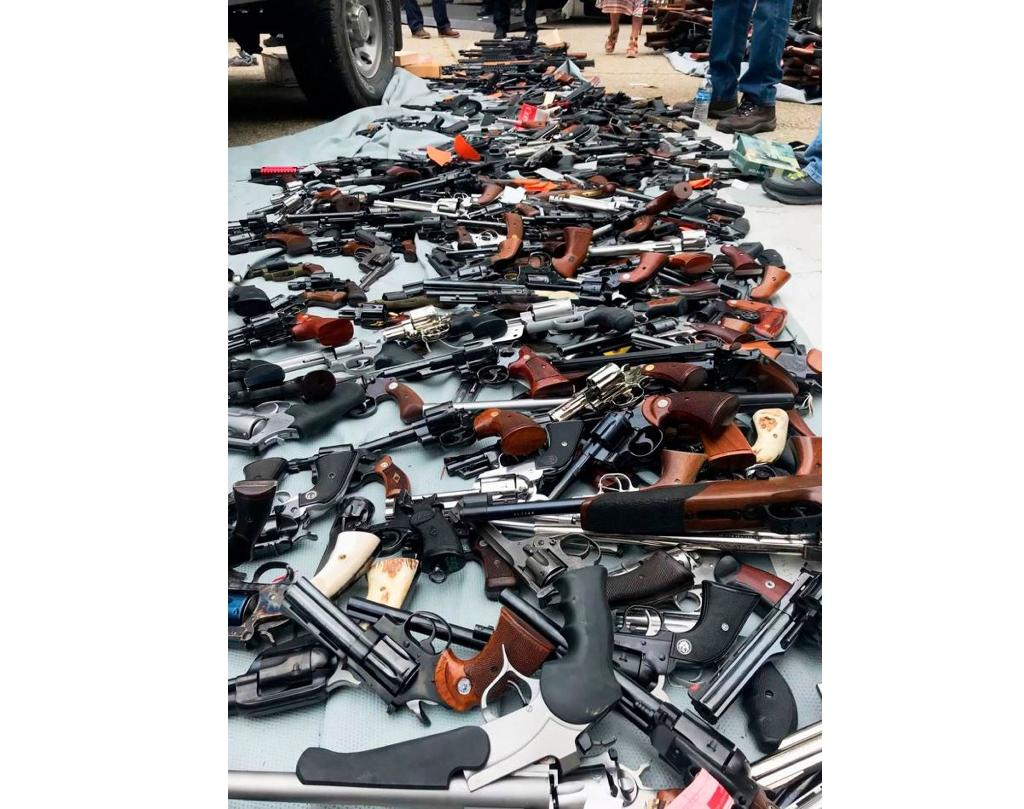 This image obtained from the Los Angeles Police Department (LAPD) shows weapons seized from a home in Los Angeles on May 8, 2019, by Bureau of Alcohol, Tobacco and Firearms (ATF) and LAPD