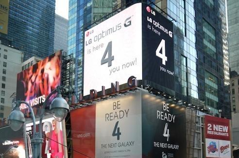 LG trolls Samsung's Times Square billboards with Optimus G '4' ads