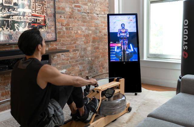 The Studio home workout display works with your existing gym equipment