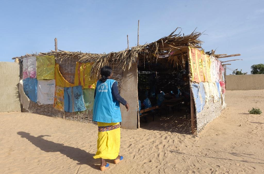 A makeshift shelter in Tivaouane, near Dakar, is serving as a pilot primary school of the Global Partnership for Education (AFP Photo/SEYLLOU)