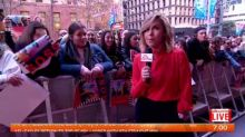 Eddy is with 5SOS fans outside brekky central