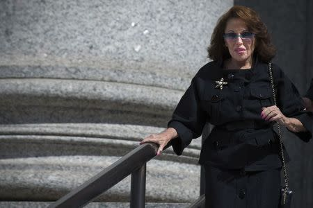 Socialite Nikki Haskell exits the U.S. District Court for the Southern District of New York in Lower Manhattan