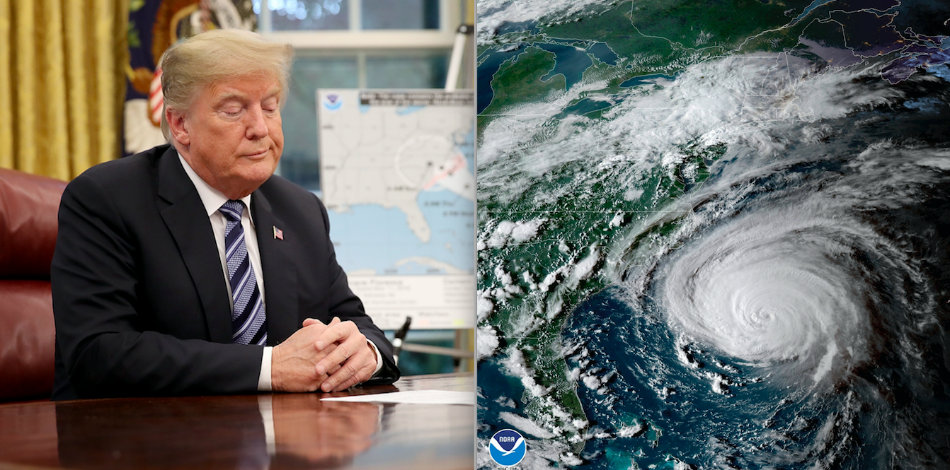 Trump jokes windy weather from Hurricane Florence and Michael is proof his hair is real pics