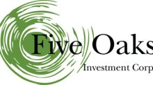 Five Oaks Investment Corp. Commences Transition in Strategy with Acquisition of a Commercial Real Estate Loan Portfolio and Originator