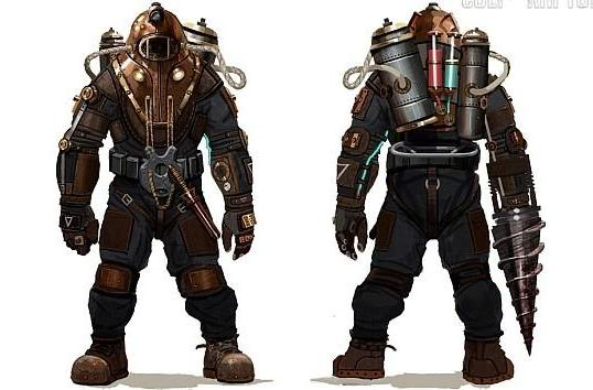 See the prototype Big Daddy prototypes from BioShock 2