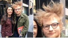 Ed Sheeran's unruly hair steals the show in fan pic failure