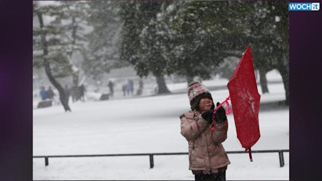 Heavy Snow Hits Tokyo For First Time In 13 Years