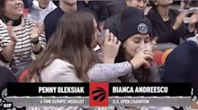 Bianca Andreescu, Penny Oleksiak chug drinks courtside at Raptors game