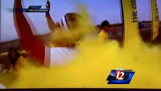 WXII 12 News Team running in the Color Run in Winston-Salem