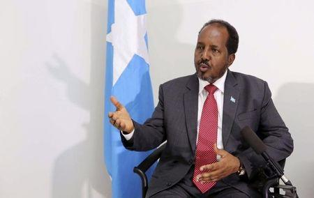 Somalia's President Mohamud speaks during an interview with Reuters in Mogadishu