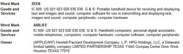 HP files for 'Zeen' and 'Airlife' trademarks for handheld devices