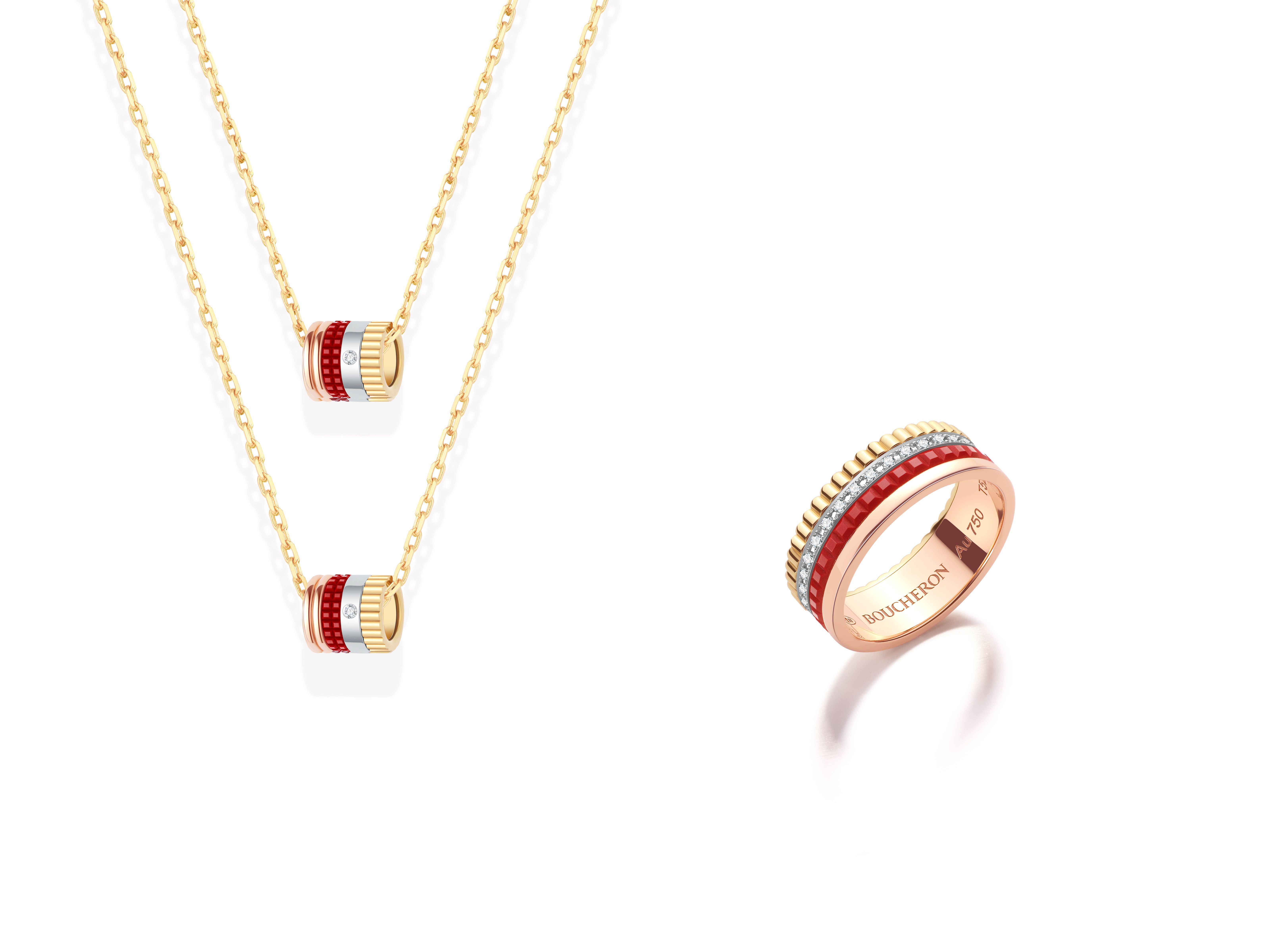 <strong>QUATRE RED系列單鑽墜項鍊(條),NT$97,000;QUATRE RED系列鑲鑽戒指,NT$205,000。</strong>