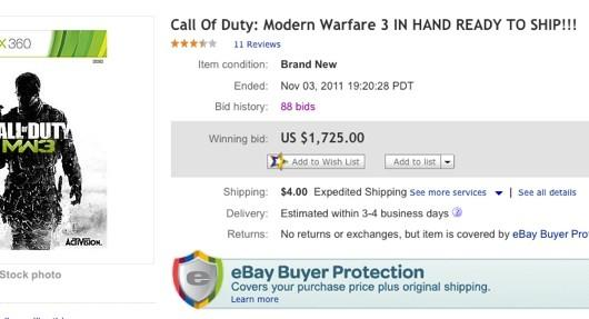 Somebody Bid 1 725 For Modern Warfare 3 On Ebay Engadget