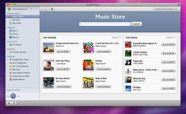 DoubleTwist now powered by Amazon MP3 store