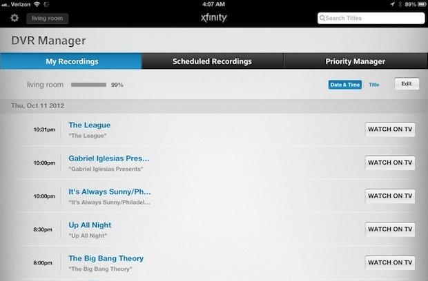 Comcast quietly updates DVRs with ability to list stored programs from the web, mobile apps