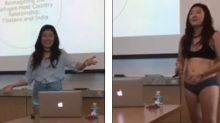 Student strips down for presentation after professor says her shorts are 'too short'