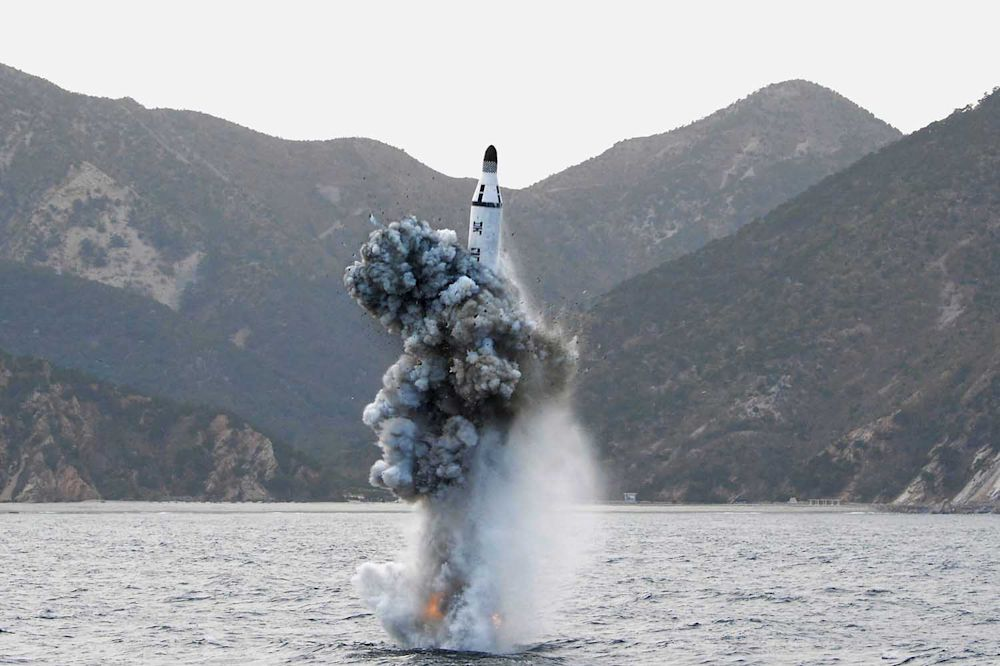 A test-fireof a strategic submarine ballistic missile in Pyongyang on April 24, 2016.
