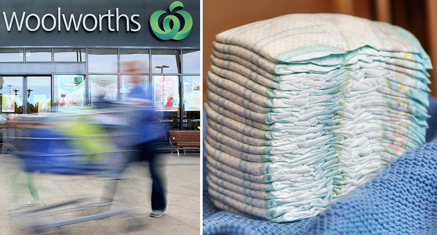 Mum shocked by find in box of nappies from Woolworths