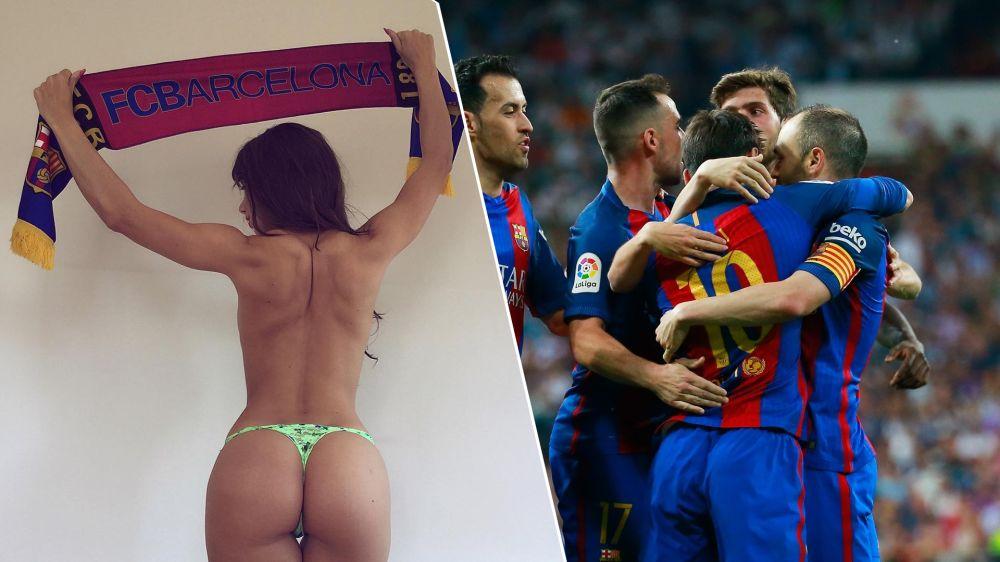 """¿Le compite a Miss Bum Bum? Apareció otra """"fanática"""" de Barcelona"""