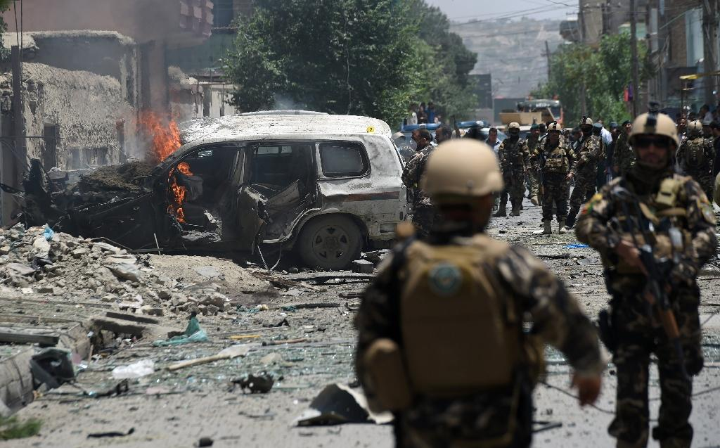 Taliban militants are engaged in peace talks with Kabul but there has been no let-up in militant attacks, such as this bomb blast targeting NATO forces in Kabul, on July 7, 2015 (AFP Photo/Shah Marai, Shah Marai)