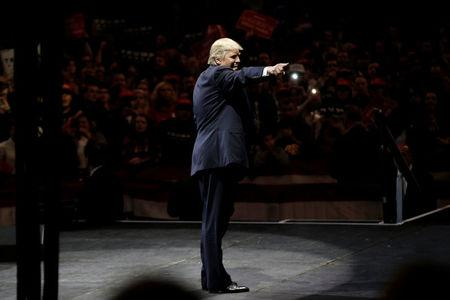 U.S. President-elect Donald Trump appears at a USA Thank You Tour event at U.S. Bank Arena in Cincinnati