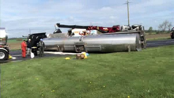DUI charges in overturned tanker crash on Route 301 in Middletown, Delaware
