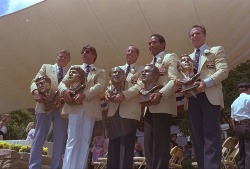 O.J. Simpson, second from right, could still attend future Hall of Fame events. (AP)