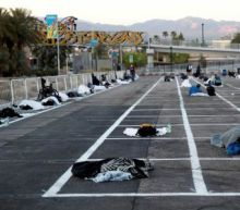 Las Vegas parking lot turned into 'homeless shelter' with social distancing markers