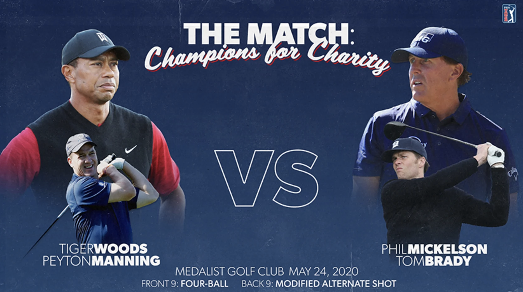 Tiger Woods and Peyton Manning Take On Phil Mickelson and Tom Brady in 'The Match: Champions for Charity' with M to be Donated to Fight Coronavirus