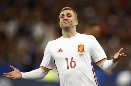 Gerard Deulofeu celebra luego de anotar el segundo gol de España ante Francia en un partido amistoso