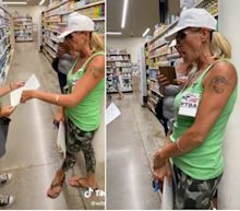 A woman claiming to be from the 'Freedom To Breathe Agency' filmed telling a grocery employee that she could face legal action for making people wear face masks