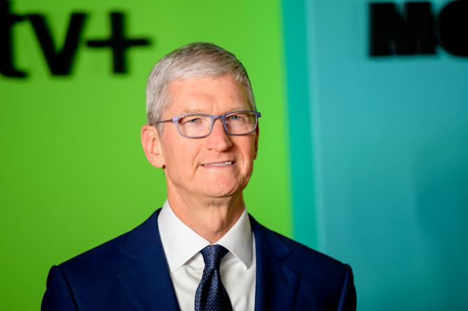"""NEW YORK, NEW YORK - OCTOBER 28: Apple CEO Tim Cook attends Apple TV+'s """"The Morning Show"""" world premiere at David Geffen Hall on October 28, 2019 in New York City. (Photo by Roy Rochlin/WireImage)"""