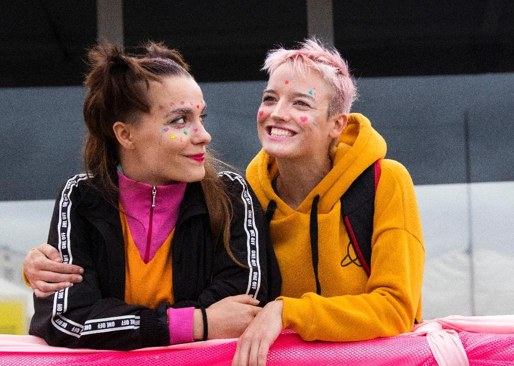 Lison Petit (L) and Celia Sorel attend the Statement Festival at Bananpiren in Gothenburg, Sweden; the two-day event was announced last year after police received four rape and 23 sexual assault reports at the country's largest Bravalla Festival