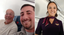 Dad flies on all his flight attendant daughter's flights to spend time with her on Christmas