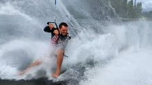 Athlete Shows Spectacular Barefoot Water-Skiing Skills