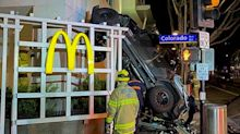 A California man drove his Jeep off the roof of a six-level parking garage and crashed into a McDonald's, police say