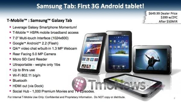 Samsung Galaxy Tab stars in leaked slide, T-Mobile version to cost $399?