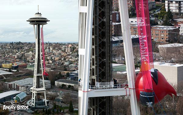 Visualized: Space Needle slingshot readies 35-foot Angry Bird for launch