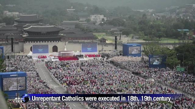 Pope Francis says a mass for Korean martyrs in Seoul