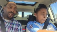 Dad and son driving lesson doesn't go to plan