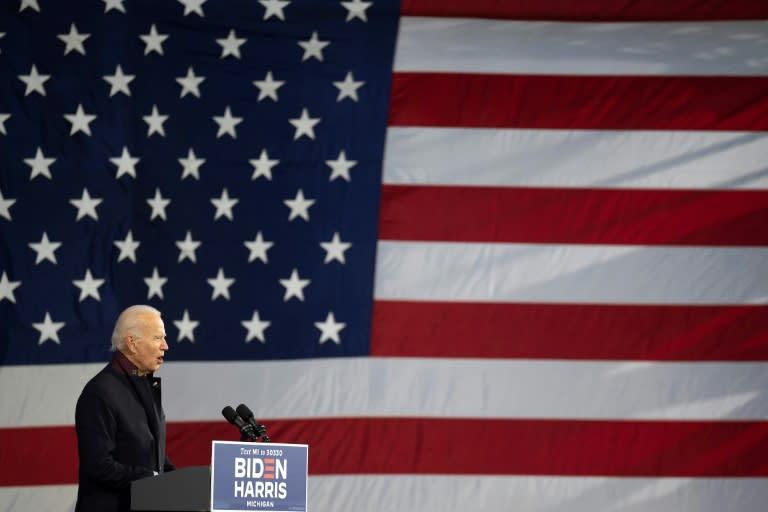 Joe Biden speaks in Detroit, Michigan ahead of the November 3 vote
