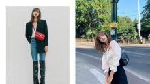 利用西裝穿出犯規的腿長效果,參考 Lisa 如何把帥氣的三件式搭出甜美氛圍!