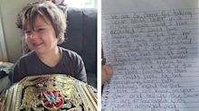 Porch pirates return WWE belt to boy awaiting brain surgery, pen apology note: 'We never wanted to steal a child's hope'