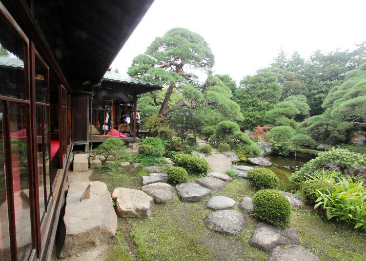 由走廊望向書院式建築的庭園(主庭)