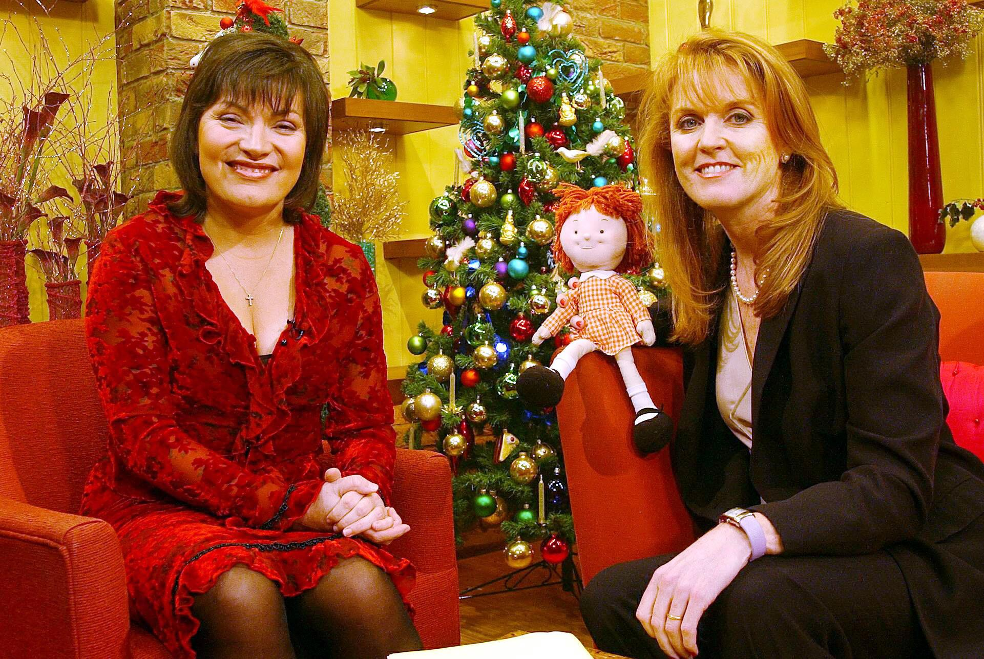 Sarah Ferguson (R) took part in Lorraine Kelly's (L) early morning breakfast show on GMTV, Wednesday 12 December 2001. She spoke about her charity 'Children in Crisis' and its work in Afghanistan.