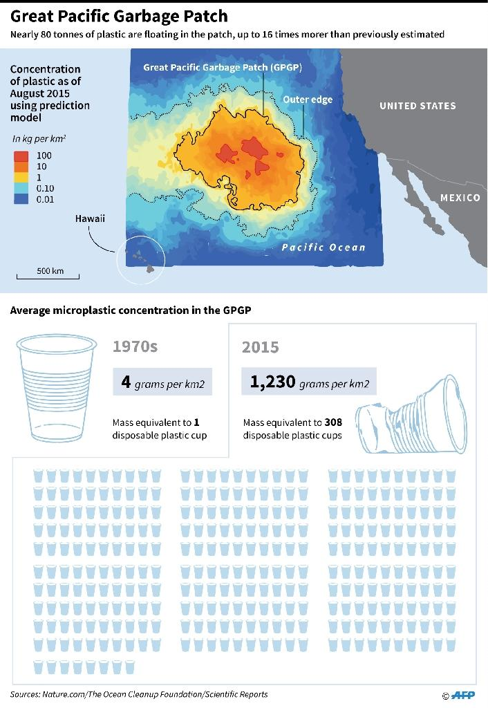 Concentration of plastic waste in the area of the Pacific Ocean between the United States and Hawaii (AFP Photo/Nick SHEARMAN )