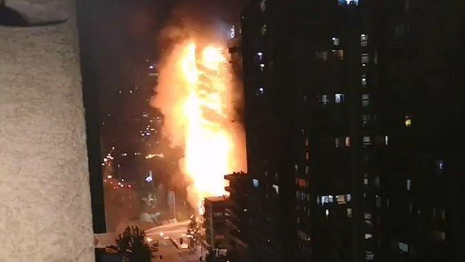 Enel Green Power Building Burns Amid Violent Santiago Protests