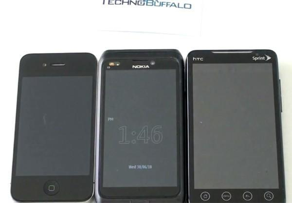 Nokia (N9 / N8-01?) prototype sized up against iPhone 4 and EVO 4G on video