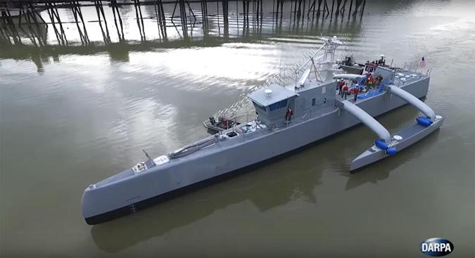 DARPA starts speed testing its submarine-hunting drone ship